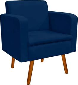 Poltrona Decorativa Emília Suede Azul Marinho - D'Rossi