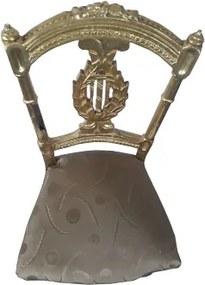 Cadeira Folheada a Ouro Imperial Pequena Bege Estampado