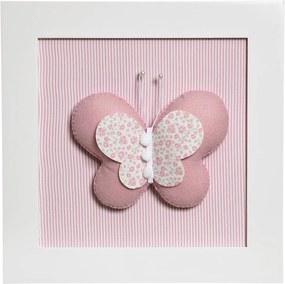Quadro Decorativo Borboleta Quarto Bebê Infantil Menina Potinho de Mel Rosa