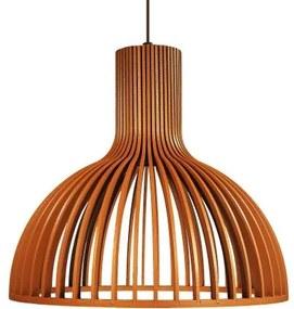 Luminária Pendente de Madeira | Cor: Caramelo | Soq: E-27 | 29x26cm | Mod: Kuma