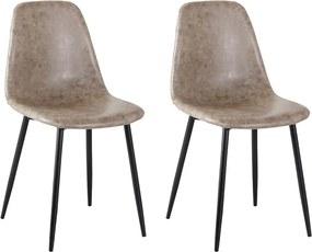 Kit 2 Cadeira Decorativa Sala e Escritório Base Preta Emotion PU Cinza Vintage- Gran Belo