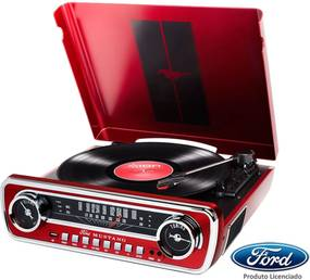 Toca Discos Vinil Ion Mustang C/ Rádio, Usb, Entrada Auxiliar E Conversão Digital Vermelho