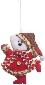 Enfeite Árvore Natal Para Pendurar Urso Polar Vermelho 15x10