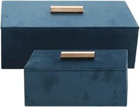Conjunto Porta Jóias de Veludo Azul e Puxador Ouro