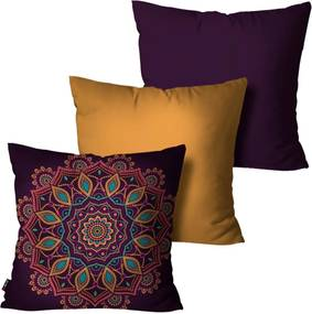 Kit com 3 Almofadas Pump UP Decorativas Roxo Mandala 45x45cm