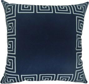 Capa Almofada Veludo estampado Cairo Azul - Verso Branco - 50x50cm