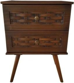Mesa de Cabeceira 2 Gavetas com Pés Palito Imbuia - Wood Prime 972046
