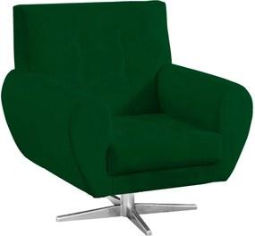 Poltrona Decorativa Beluno Suede Verde Base Estrela Aço Cromado - D'Rossi