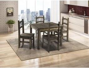 Conjunto Mesa com 4 Cadeiras Cancun Madeira Maciça - Cera Negra