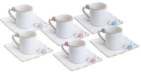 Jogo Xícaras Café Porcelana 6 Peças Flower Square Plate Colorido 80ml 35470 Wolff
