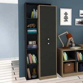 Estante para Livros 70 cm 2 Portas Avelã Tx/Onix Tx - Hecol