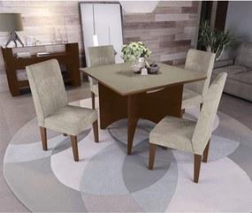 Conjunto Mesa Camomila Com 4 Cadeiras Walnut Kappesberg Bege