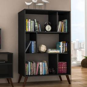 Estante para Livros com Nichos Retrô RT 3015 - Preto