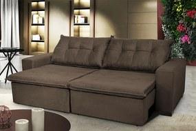 Sofá Austrália 2,12m Retrátil, Reclinável, Molas E Pillow No Assento Tecido Suede Café Cama Inbox