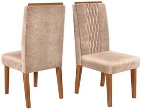 Conjunto 2 Cadeiras Elen Carvalho Nobre Tecido Veludo Kraft