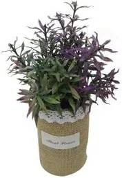 Vaso com Planta Artificial de Plástico Verde 6,5x21cm NDI ST50198