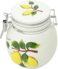 Pote em cerâmica com tampa Bon Gourmet hermética Lemons Colorida