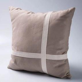 Almofada Cruz Tecido Sarja lisa com detalhe de alça de algodão - Enchimento fibras siliconizadas