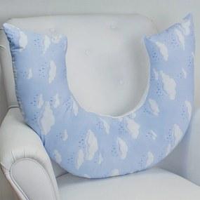 Almofada de Amamentação Casamax Enxovais Coleção Chuva de Benção Azul - Tecido 100% Algodão