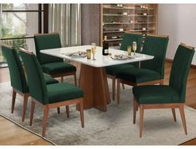 Conjunto Mesa Karina 1,60 m Off White + 6 Cadeiras Leticia Aveludado Verde