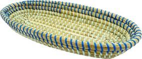 Bandeja Decorativa Produzida em Rattan com Detalhes em Azul - 6x37x18cm