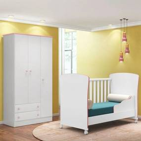 Quarto de Bebê Guarda Roupa Doce Sonho e Berço 2484 Branco/Rosa - Qmovi