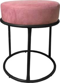 Puff Redondo Decorativo Luxe Base de Aço Preta Suede Rosê - Sheep Estofados - Rosa