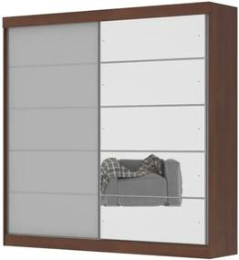 Guarda-Roupa Camboriu Com Espelho Ipê/ Off White – Mirarack Móveis