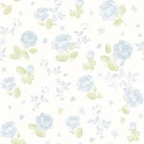 Papel De Parede Bambinos Floral Azul Grande 3363