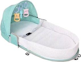 Berço Cama portátil Mommy Bag com brinquedos e mosquiteiro para bebê dormir dobrável Verde