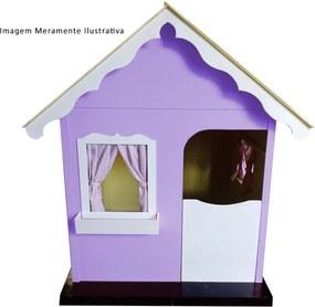 Casinha Infantil de Brinquedo com Cortina Lilás/Branco - Criança Feliz