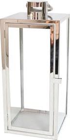 Lanterna Decorativa China Alumino e Vidro Quadrada com Alça Prata D18cm x A43cm