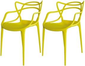 Kit 02 Cadeiras Decorativa Amsterdam Amarelo - Facthus