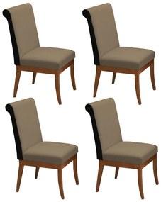 Conjunto 4 Cadeiras Larissa Aveludado Nude + Couríssimo Preto