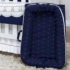 Berço Portátil Ninho Redutor para Bebê Poá Marinho Coleção Cherie