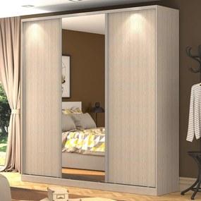 Guarda-Roupa Casal 3 Portas Correr 1 Espelho 100% Mdf Rc3003 Noce - Nova Mobile