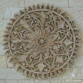 Mandala Flor em Madeira 40cm - Bali
