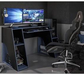 Mesa Gamer Escrivaninha Kyoto Com 3 Nichos - Preto Azul