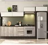 Cozinha Modulada 08 Peças 100% MDF Kali Premium 7047155 Amendoa/Arezzo Rustico / Off White Nicioli