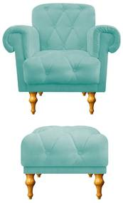 kit Poltrona e Puff Decorativos Dani Suede Azul Tiffany - ADJ Decor