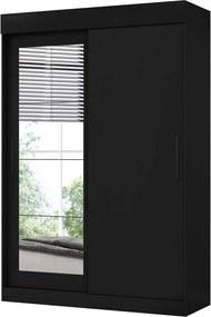 Guarda Roupa Bolt C/ Espelhos 2 Portas De Correr Preto Fosco Liso Albatroz