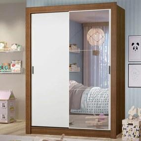 Guarda-Roupa Infantil Madesa Theo 2 Portas de Correr com Espelho 4 Gavetas Rustic/Branco Cor:Rustic/Branco