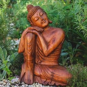Escultura Buda Relax em Madeira 52cm | Bali