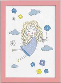 Quadro para Quarto Menina e Flores Azuis Moldura Rosa 22x32