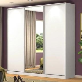 Guarda-Roupa Casal 3 Portas Correr 1 Espelho 100% Mdf Rc3001 Branco - Nova Mobile