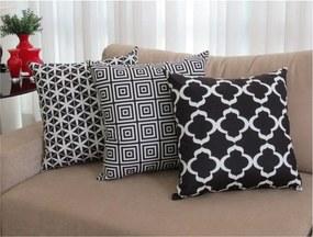 3 Capas para Almofadas Confort Veludo Geométrico Preto 50x50cm