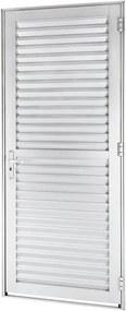 Porta de Alumínio de Abrir Veneziana Alumifort Branca 1 Folha Abertura Esquerda 216x88x5,4 - Sasazaki - Sasazaki