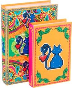 Conjunto Book Box Amor de Pixel Gato Amarelo 2 Peças Madeira/Tecido