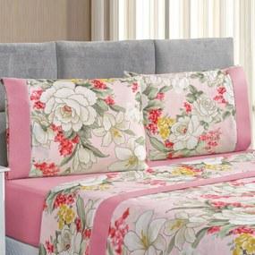Jogo de Cama Forest Floral Rosa Queen Micropercal 200 Fios 04 Peças