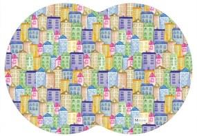 Tapete PET Mdecore Geométrico Prédio Colorido 54x39cm